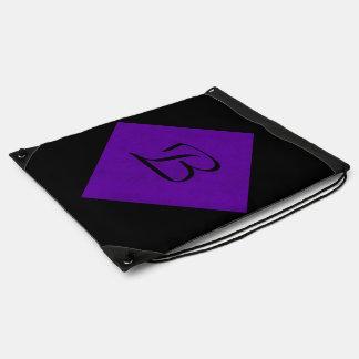 ネオン紫色のビロードの名前入りな家のカジノ ナップサック