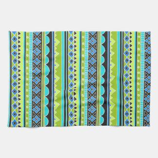 ネオン緑および青の種族パターン キッチンタオル