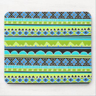 ネオン緑および青の種族パターン マウスパッド