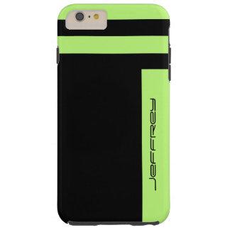 ネオン緑および黒い対面ストライプでカスタムな堅い TOUGH iPhone 6 PLUS ケース