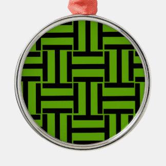 ネオン緑および黒いTの織り方 メタルオーナメント