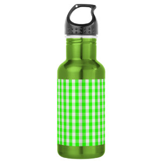 ネオン緑のギンガムパターン ウォーターボトル