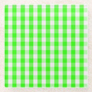 ネオン緑のギンガムパターン ガラスコースター