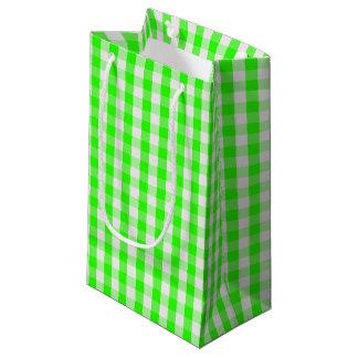 ネオン緑のギンガムパターン スモールペーパーバッグ