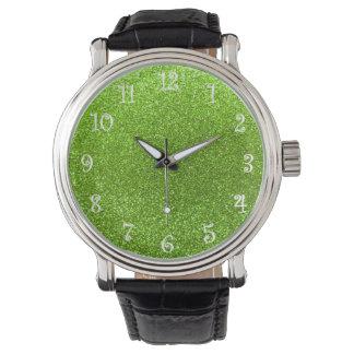 ネオン緑のグリッター 腕時計