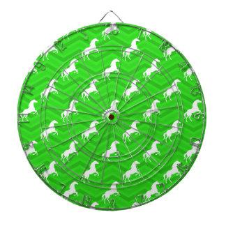 ネオン緑のシェブロンの白馬パターン ダーツボード