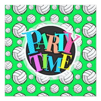 ネオン緑のバレーボールパターン カード