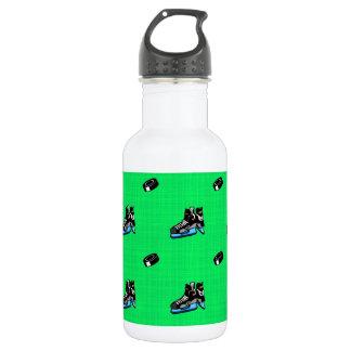 ネオン緑のホッケーパターン ウォーターボトル