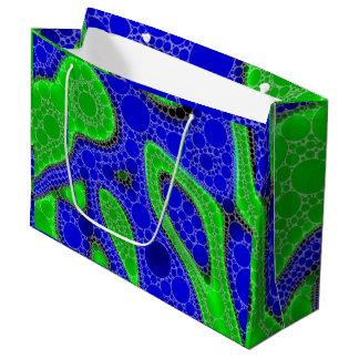 ネオン緑の抽象芸術 ラージペーパーバッグ
