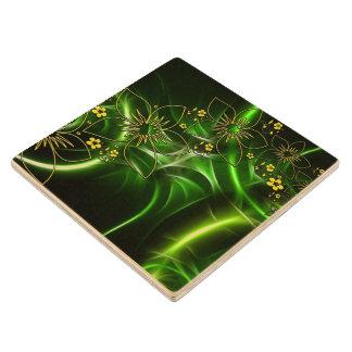 ネオン緑の花のフラクタル ウッドコースター
