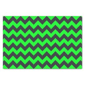 ネオン緑の黒いシェブロンパターンティッシュペーパー 薄葉紙