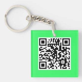 ネオン緑QRコードカスタムなキーホルダー キーホルダー