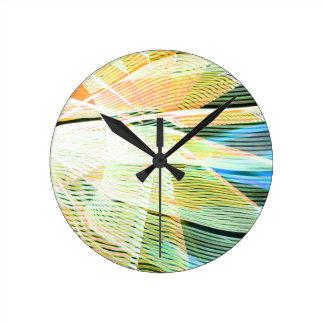 ネオン縞の黄色の青の中間のカーニバルの抽象芸術 ラウンド壁時計