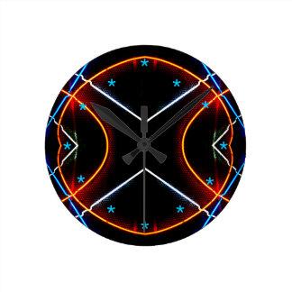 ネオン芸術の時計の黒の新しいレトロの未来派 ラウンド壁時計