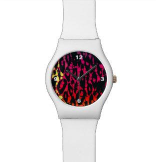 ネオン虹のアニマルプリント 腕時計