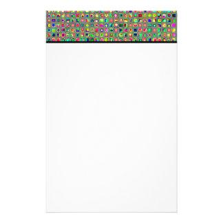 ネオン虹の織り目加工のモザイク・タイルパターン 便箋