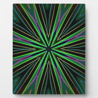 ネオン蛍光緑のラベンダーの星の破烈 フォトプラーク