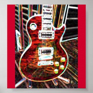 ネオン赤いエレキギターポスター ポスター