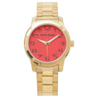 ネオン赤く、あなた自身の名前 腕時計