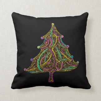 ネオン電気クリスマスツリーの装飾的な枕 クッション