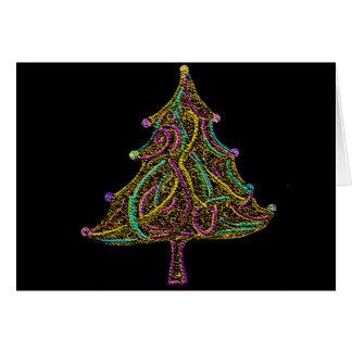 ネオン電気クリスマスツリー カード