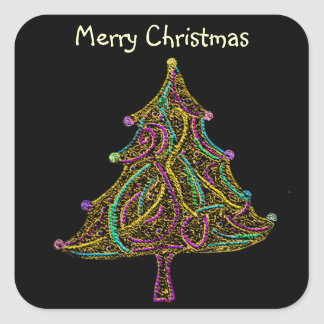 ネオン電気クリスマスツリー スクエアシール