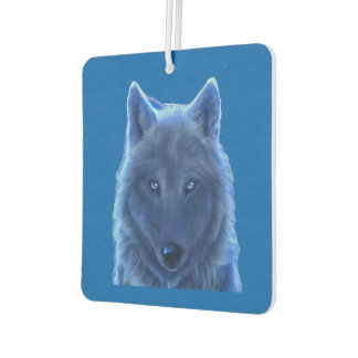 ネオン青いオオカミ カーエアーフレッシュナー