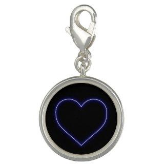 ネオン青いバレンタインのハート チャーム