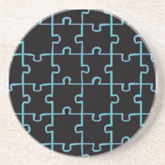 ネオン青いパズル コースター