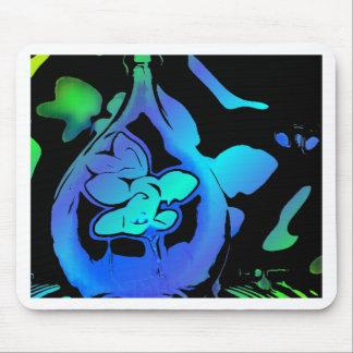 ネオン青緑の抽象芸術のマグノリアのつぼ マウスパッド