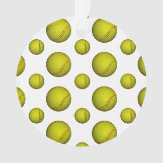 ネオン黄色いソフトボールパターン オーナメント