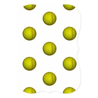 ネオン黄色いソフトボールパターン 12.7 X 17.8 インビテーションカード
