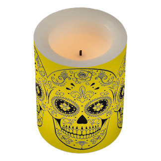 ネオン黄色い砂糖のスカルは蝋燭を導きました LEDキャンドル