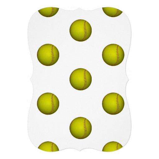 ネオン|黄色|ソフトボール|パターン 案内状