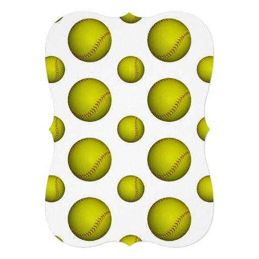 ネオン|黄色|ソフトボール|パターン 招待状