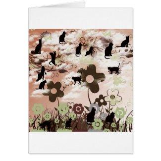 ネコと花と夕日 グリーティングカード