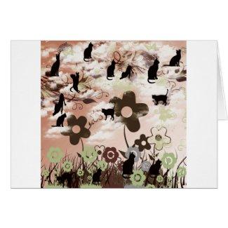 ネコと花と夕日 グリーティング・カード