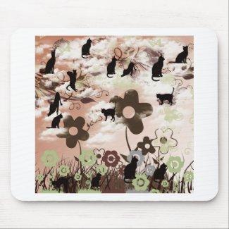 ネコと花と夕日 マウスパッド