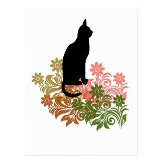 ネコと花 ポストカード