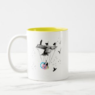 ネコと飛行機 コーヒーマグ