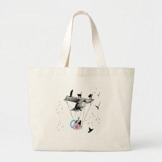 ネコと飛行機 トートバッグ