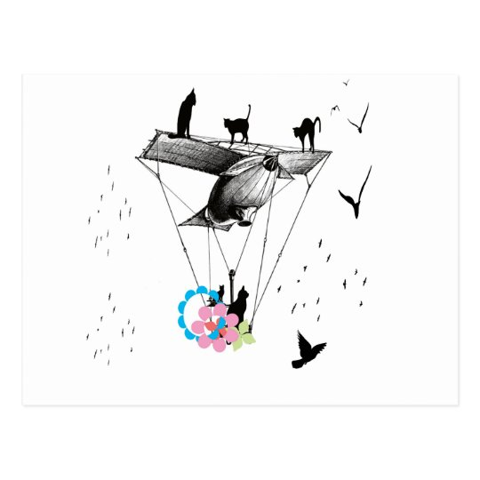 ネコと飛行機 ポストカード