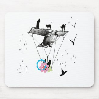 ネコと飛行機 マウスパッド