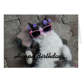 ネコ科の花型女性歌手の誕生日 カード