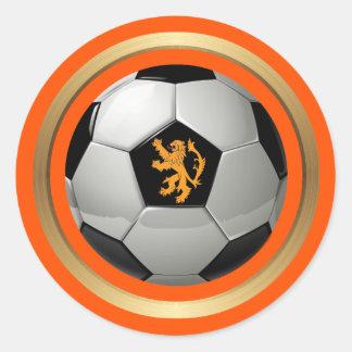 ネザーランドサッカーボール、オレンジのオランダのライオン ラウンドシール