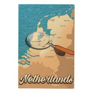 ネザーランドヴィンテージの地図の休暇ポスター ウッドウォールアート