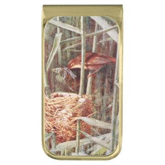 ネスティングリードアメリカムシクイの絵 ゴールド マネークリップ