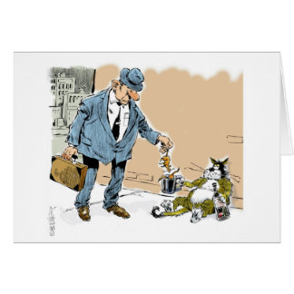 ネズミのために通りで頼んでいる漫画猫 カード