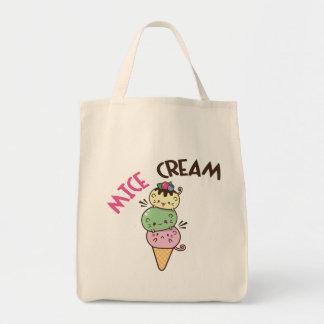 ネズミのクリーム色のアイスクリーム トートバッグ