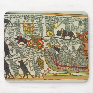 ネズミは猫、ロシア語、18世紀後半を埋めます マウスパッド